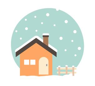 小屋と冬の雪背景のイラスト素材 [FYI03388070]