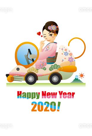 ネズミの形をした自動車を運転する着物の女性の年賀状のイラスト素材 [FYI03388149]