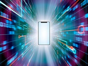 スマホから高速で放射状に飛び出すデジタルデータのイラスト素材 [FYI03388308]