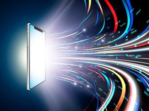 旋回しながら広がるカラフルなデジタルデータ光線のイラスト素材 [FYI03388316]