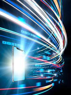 旋回しながら広がるカラフルなデジタルデータ光線のイラスト素材 [FYI03388317]