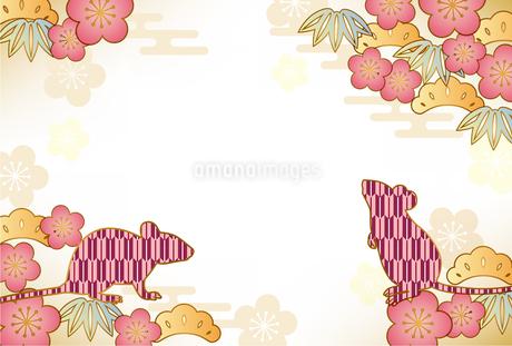子年 和柄 年賀状 背景のイラスト素材 [FYI03389041]