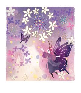 紫陽花の花と蝶々の妖精のイラスト素材 [FYI03389606]