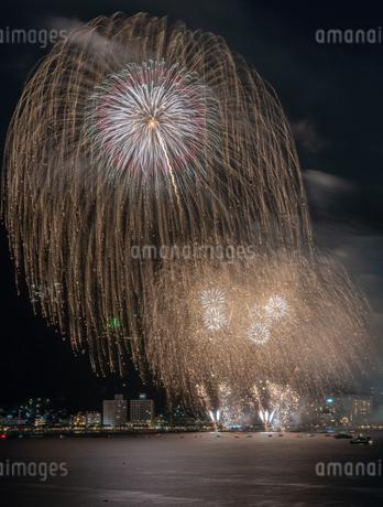 諏訪湖の花火大会 日本 長野県 諏訪市の写真素材 [FYI03389986]