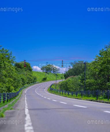 北海道 自然 風景 一本道と青空の写真素材 [FYI03390915]