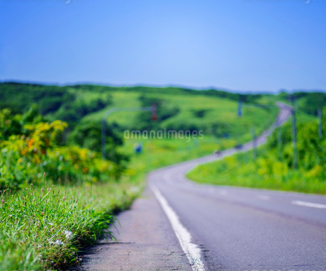 北海道 自然 風景 一本道と青空の写真素材 [FYI03390927]