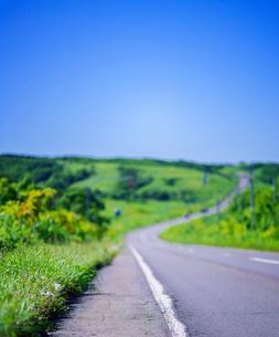 北海道 自然 風景 一本道と青空の写真素材 [FYI03390928]