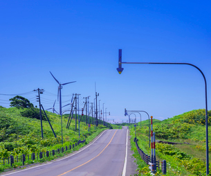 北海道 自然 風景 一本道と青空の写真素材 [FYI03390933]