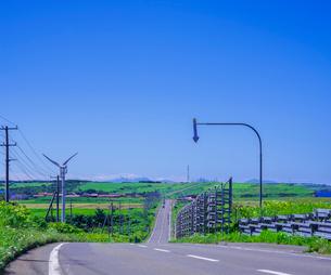 北海道 自然 風景 一本道と青空の写真素材 [FYI03390937]