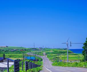 北海道 自然 風景 一本道と青空の写真素材 [FYI03390940]