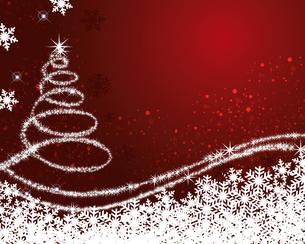 クリスマスツリー 赤背景のイラスト素材 [FYI03391705]
