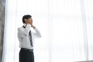 ネクタイを締める20代男性の写真素材 [FYI03391764]