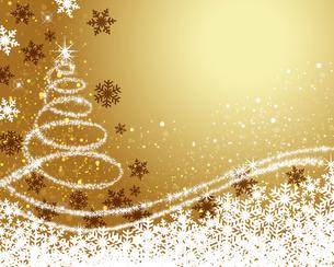 クリスマスツリー ゴールド背景のイラスト素材 [FYI03391813]