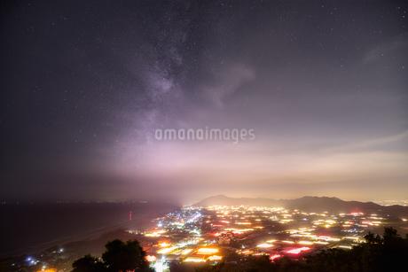 電照菊夜景と天の川の写真素材 [FYI03392391]