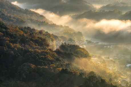苗木城跡からの眺め 日本 岐阜県 中津川市の写真素材 [FYI03392399]