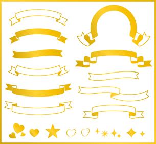 ゴールドリボンのフレームセットのイラスト素材 [FYI03393241]