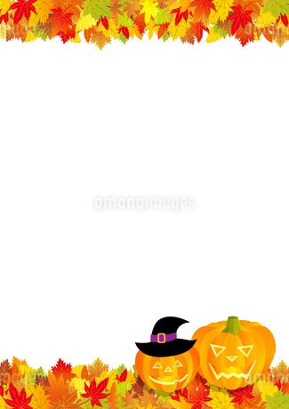 ハロウィンフレーム 紅葉とジャックオーランタン の写真素材 [FYI03393684]