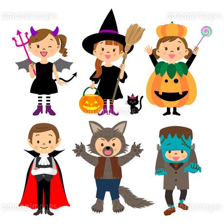ハロウィンの仮装をする子供たちのイラスト素材 [FYI03393687]