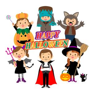 ハロウィンの仮装をする子供たち のイラスト素材 [FYI03393688]