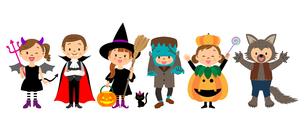 ハロウィンの仮装をする子供たちのイラスト素材 [FYI03393690]