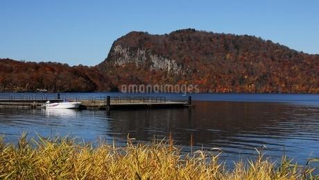 十和田湖、うたるべ桟橋から御倉半島の紅葉の写真素材 [FYI03393846]