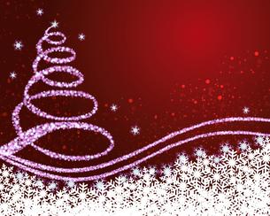 クリスマスツリー 赤背景のイラスト素材 [FYI03393881]