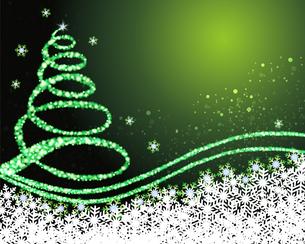 クリスマスツリー 緑背景のイラスト素材 [FYI03394102]