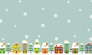 北欧風 冬の街並み 背景素材のイラスト素材 [FYI03394844]