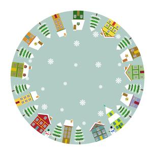 北欧風 冬の街並み 円形フレームのイラスト素材 [FYI03394846]