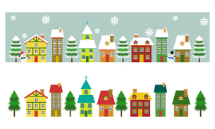 ヨーロッパ風 冬の街並み セットのイラスト素材 [FYI03394847]