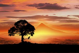 富士山の日の出とネズミのシルエットのイラスト素材 [FYI03395489]
