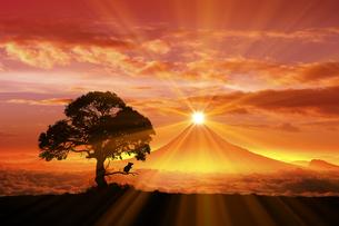 富士山の日の出とネズミのシルエットの写真素材 [FYI03395492]