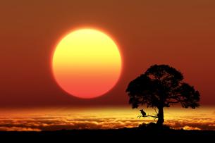 日の出とネズミのシルエットのイラスト素材 [FYI03395494]