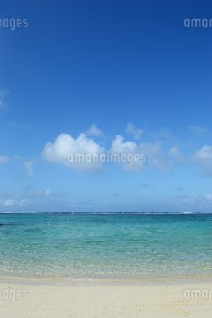 エメラルドグリーンの遠浅の海と砂浜の写真素材 [FYI03395661]