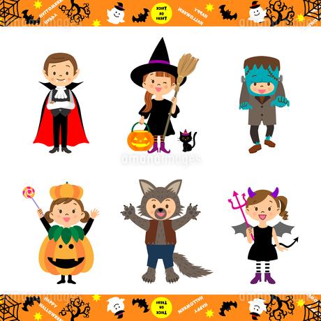 ハロウィンの仮装をする子供たちのイラスト素材 [FYI03396265]