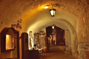 カタリーナの小路に続く通路の歩道脇に並ぶ店舗・旧市街は世界遺産の写真素材 [FYI03397073]
