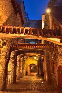 明かりのついたレンガの梁があるカタリーナの小路の両脇に並ぶ店舗・旧市街は世界遺産の写真素材 [FYI03397079]