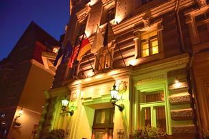 1878年サンクトぺテルブルグの建築家による由緒ある建物。当初は銀行、第一次世界大戦後は郵便局、電話局として使用された。現在はホテル・テレグラーフの写真素材 [FYI03397092]