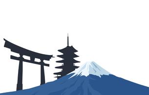 富士山と寺院 日本イメージのイラスト素材 [FYI03397168]