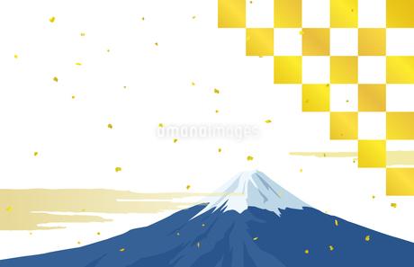 富士山と金箔 はがきテンプレートのイラスト素材 [FYI03397339]