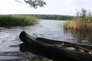 北ドイツ・湖水地方の水路をカヌーでの写真素材 [FYI03397759]