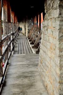 ヘルマン塔城壁上に巡らされている屋根のある回廊・旧市街は世界遺産の写真素材 [FYI03399422]