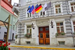 1878年サンクトぺテルブルグの建築家による由緒ある建物。当初は銀行、第一次世界大戦後は郵便局、電話局として使用された。現在はホテル・テレグラーフの写真素材 [FYI03399442]