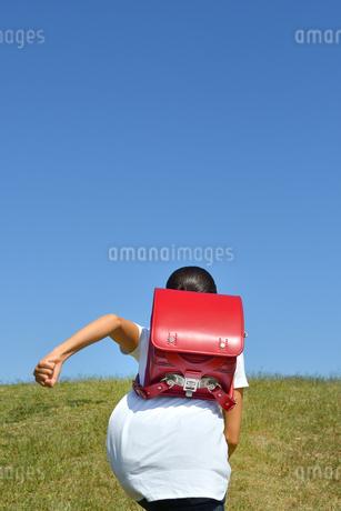 青空で走る小学生の女の子(後姿)の写真素材 [FYI03399477]