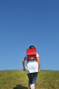 青空で走る小学生の女の子(後姿)の写真素材 [FYI03399479]