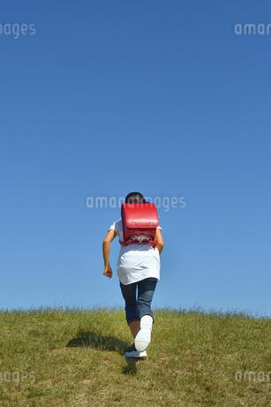 青空で走る小学生の女の子(後姿)の写真素材 [FYI03399483]