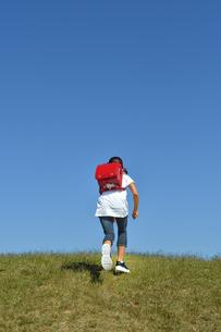 青空で走る小学生の女の子(後姿)の写真素材 [FYI03399485]