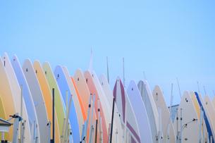 パステルカラーのボードの並ぶ風景の写真素材 [FYI03399654]