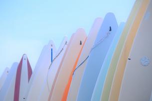 パステルカラーのボードの並ぶ風景の写真素材 [FYI03399655]