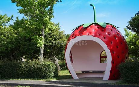 イチゴの形のバス停留所の写真素材 [FYI03400825]